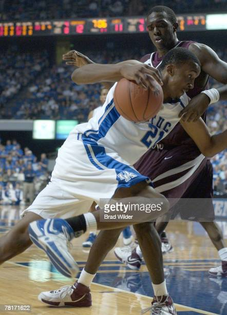 Perry Stevenson drives the baseline in the Kentucky vs. College of Charleston game Tuesday, November 28 at Rupp Arena in Lexington, Kentucky....