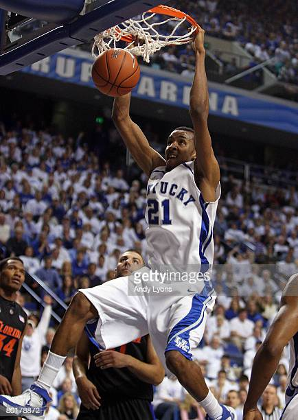 Perry Stevenson of the Kentucky Wildcats dunks the ball during the SEC game against the Florida Gators on March 9 2007 at Rupp Arena in Lexington...