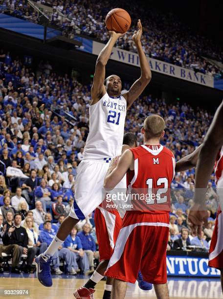 Perry Stevenson of the Kentucky Wildcats shoots the ball during the game against the Miami University Redhawks at Rupp Arena on November 16 2009 in...