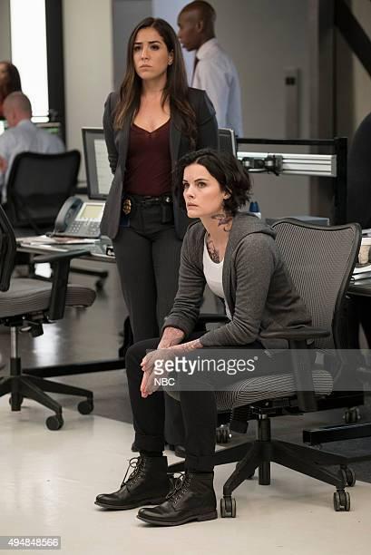 BLINDSPOT Persecute Envoys Episode 108 Pictured Audrey Esparza as Tasha Zapata Jaimie Alexander as Jane Doe