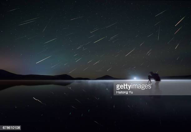 Perseid Meteor Shower (Perseids). Lake Duolun, Inner Mongolia, China.