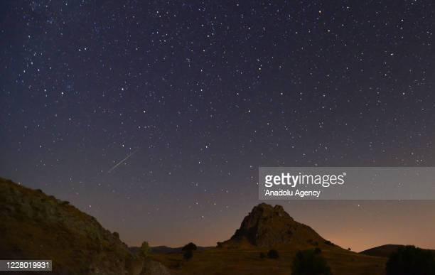 Perseid meteor streaks across the night sky over Kestel Forest of Kadinhani district in Konya, Turkey on August 13, 2020.
