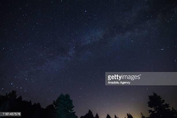 Perseid meteor streaks across the night sky over Tavsanli district of Kutahya in Turkey on August 13 2019