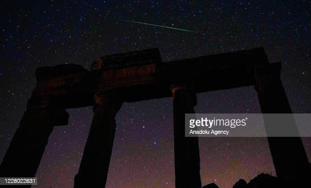 Perseid meteor streaks across the sky over the ancient city of Blaundus in Usak, Turkey on August 13, 2020.