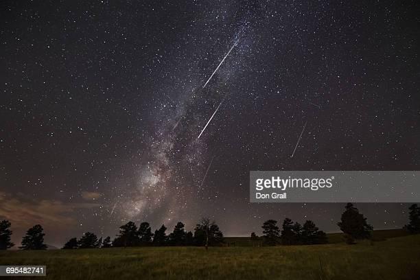 Perseid Meteors and Milky Way