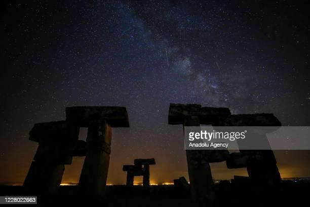 Perseid meteors streak across the sky over the ancient city of Blaundus in Usak, Turkey on August 13, 2020.