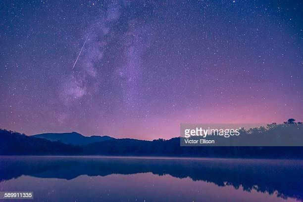 Perseids meteor shower at lake