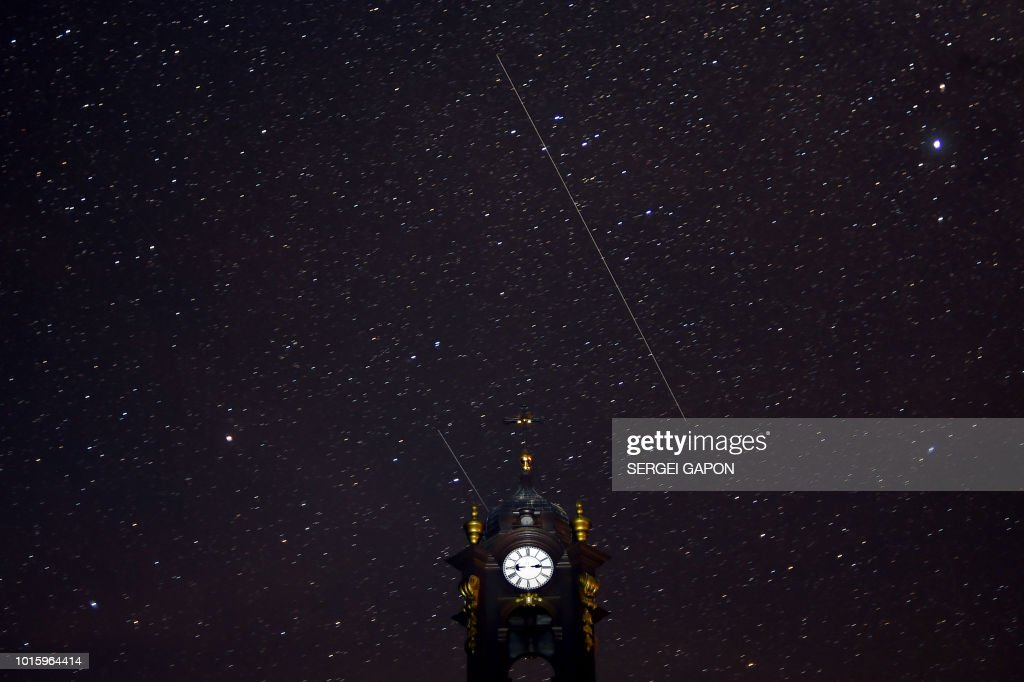 TOPSHOT-BELARUS-ASTRONOMY-METEOR-PERSEIDS : News Photo