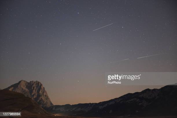 Perseids on Gran Sasso d'Italia on August 10, 2020. Meteors will be visible next days during central part of the night.
