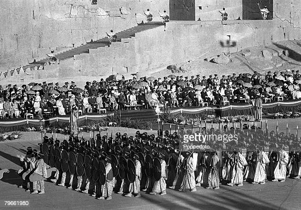 Persepolis Iran 15th October 1971 Soldiers wearing ancient Iranian army uniform parade during the 2500th anniversary of the founding of the Persian...