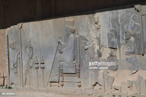 persepolis treasury - bas relief stock pictures, royalty-free photos & images