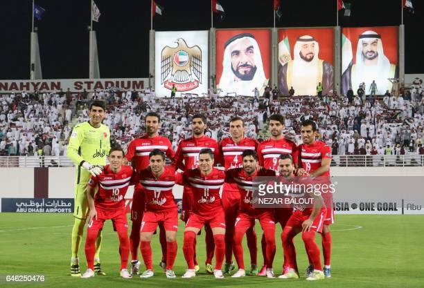 Persepolis's players pose prior to the AFC Champions League qualifying football match between UAE's AlWahda and Iran's Persepolis on February 28 in...