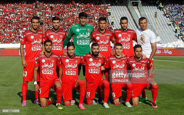 Persepolis's starting eleven pose for a group picture ahead of their Persian Gulf Pro League derby football match between Persepolis FC and Esteghlal...