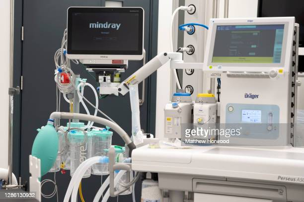 Perseus A500 anaesthesia machine in the operating theatre of the Llanfrechfa Grange Hospital on November 11, 2020 in Cwmbran, Wales. The £350m...