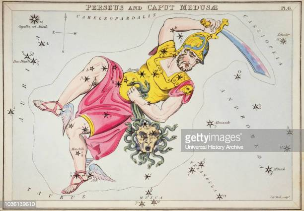 Perseus and Caput Medusae. Card Number 6 from Urania's Mirror, or A View of the Heavens, one of a set of 32 astronomical star chart cards engraved by...