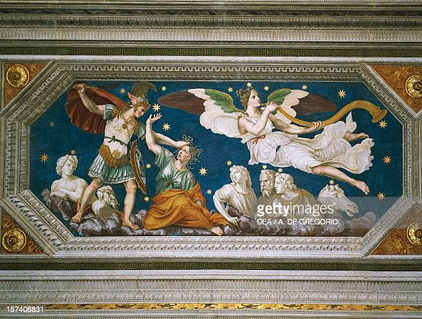 Perseus constellation Perseus grabbing Medusa's head to decapitate it while Fame plays the tuba 15101511 fresco by Baldassarre Peruzzi vault Loggia...
