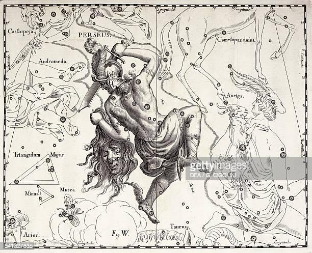 Perseus the boreal constellation of the Hero illustration taken from Johann Hevelius's star atlas Firmamentum Sobiescianum sive Uranographia Gdansk...
