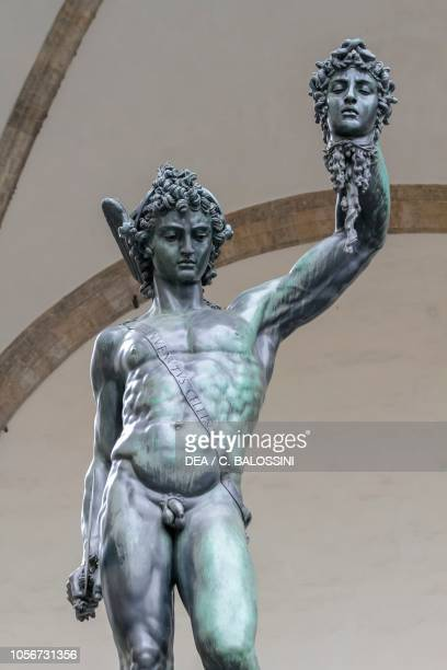 Perseus with the head of Medusa statue by Benvenuto Cellini , Loggia dei Lanzi, Piazza della Signoria, Florence , Tuscany, Italy. Detail.
