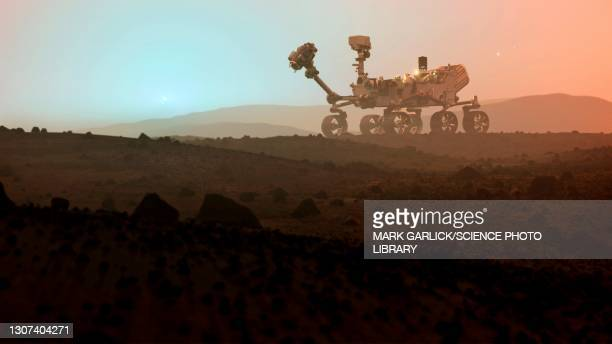 perseverance rover on mars at sunset - determination stock pictures, royalty-free photos & images