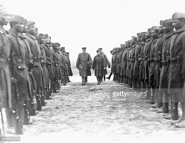 Pershing inspects two ranks of the 2nd Battalion an African American battalion in World War I