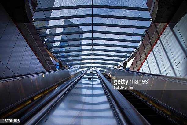 pershing square metro escalators - pershing square stock photos and pictures