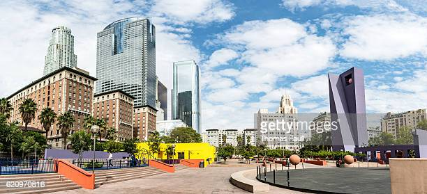 pershing square panorama in los angeles - pershing square stock photos and pictures