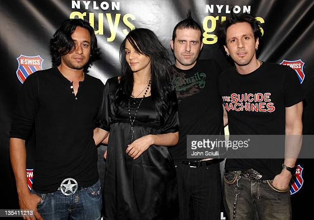 Persia White and XEO3 during Pete Wentz Hosts Nylon Guys Spring Launch Party at Cinespace in Hollywood California United States