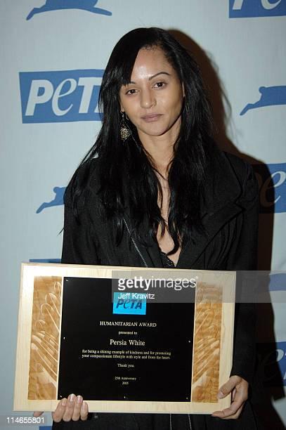 Persia White during 25th Anniversary Gala for PETA and Humanitarian Awards Press Room at Paramount Studios in Hollywood California United States