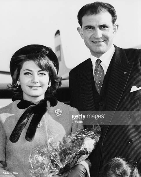 Persian Ambassador Ardeshir Zahedi and his wife arriving at London Airport October 18th 1962