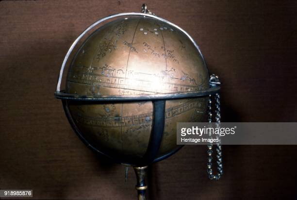 Persian Brass Celestial Globe Brass engraved and inlaid with silver 14301431 Made by Muhammed Ibn Ja'far Ibn'umar the astrolabist known as alJalal...