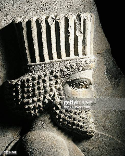 Persian civilization 5th century bC Fragment of relief with Persian guard 486465 bC From Persepolis Apadana central stairway