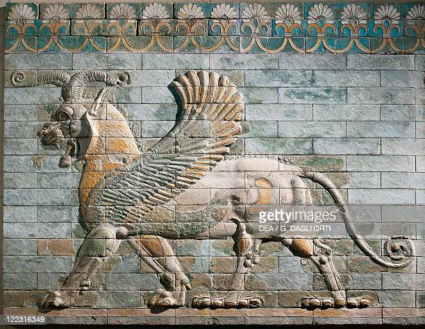 Persian civilization Achaemenid period 5th century bC Frieze depicting griffin of glazed brick From the Palace of Darius I at Susa Iran Detail