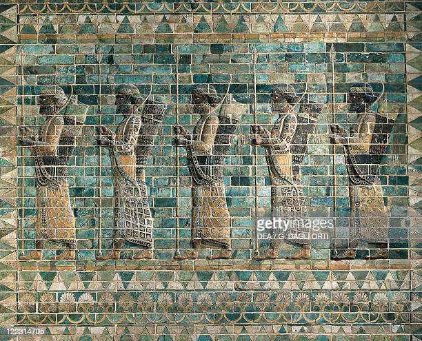 Persian civilization Achaemenid period 5th century bC Frieze of Archers of polychrome glazed brick From the Palace of Darius I at Susa Iran