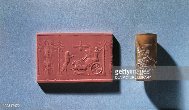 Persian civilization Achaemenid Period 5th4th century bC Agate cylinder seal of Darius I depicting the king hunting a lion from his chariot and the...