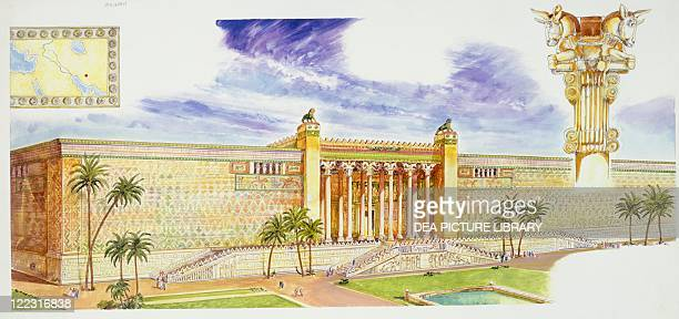 Persian Civilization Reconstruction of Palace of Darius called Apadana in Persepolis map of Ancient Persia and detail of a capital Color illustration
