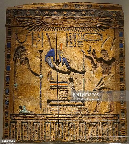 Persian Emperor Darius I as Pharaoh of Egypt wooden door from a box of statuettes Darius is depicted making an offering to the Egyptian god Anubis...