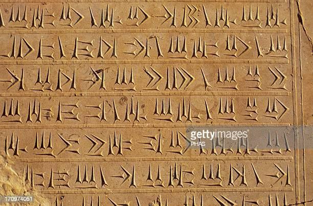 Persian Empire. Achaemenid period. Cuneiform writing on the wall of the Palace of Persepolis. 5th century B.C. Islamic Republic of Iran.