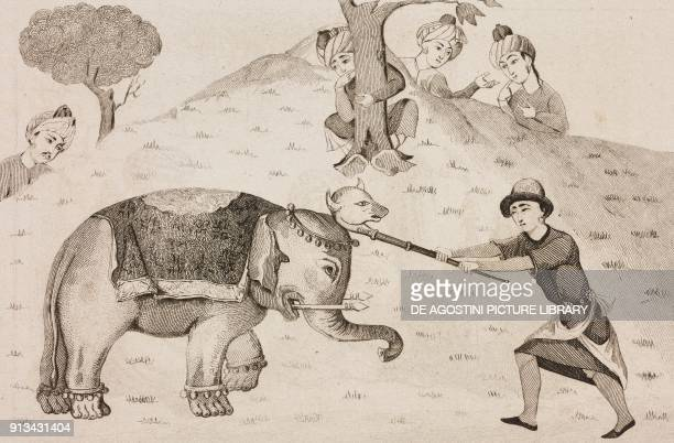 Persian epic hero Rustam fighting the elephant engraving from Shahnameh poem by Ferdowsi from La Perse by Louis Dubeux L'Univers pittoresque...