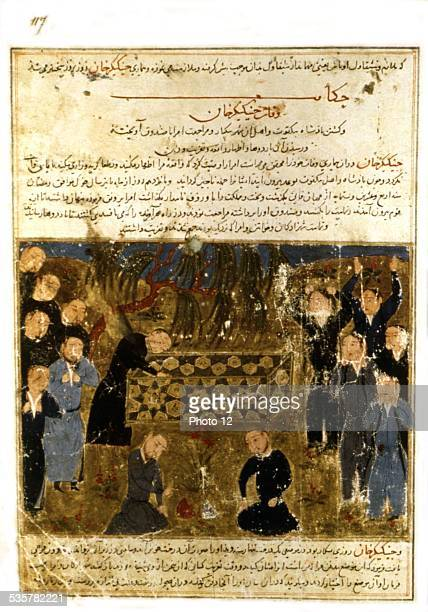Persian manuscript illustrated with 106 paintings Jami'al Tawarikh by Rachid adDîn Genghis Khan's funeral Meanwhile his troops were seizing the...