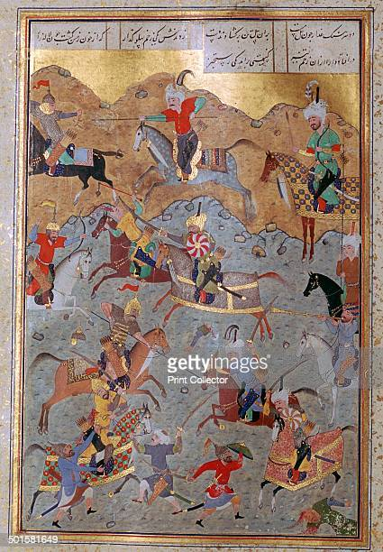 Persian miniature illustrating a battle between Alexander the Great and Darius III from a Khamsa from the metropolitan museum of art in New York 16th...