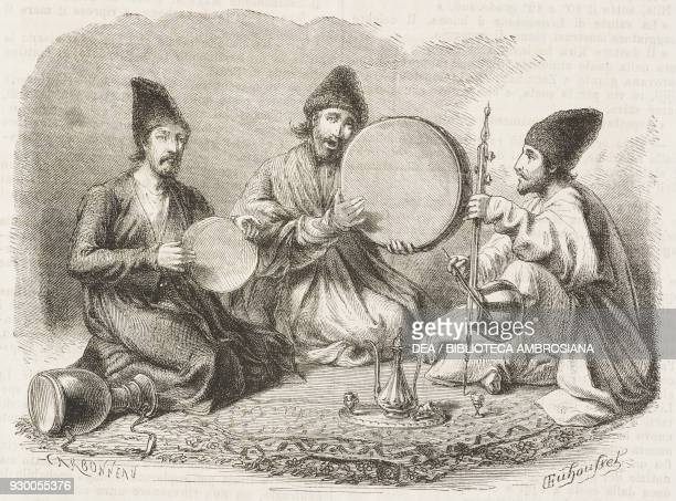 Persian musicians from Iran drawing by Duhousset from Hunting in Persia by Emile Duhousset from Il Giro del mondo Journal of geography travel and...