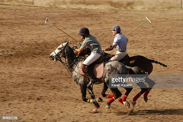 A Persian polo game at Farahabad stadium in east Tehran 15th April 2004 The earliest records of polo are Persian there is evidence that it was played...