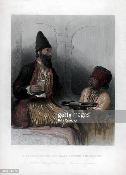 'A Persian Prince his slave bringing him sherbet' 19th century Our word 'sherbet' comes from the Arabic for 'to drink' Handcoloured later
