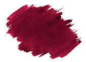 Persian red watercolor is a trend color, an isolated spot with divorces and borders.