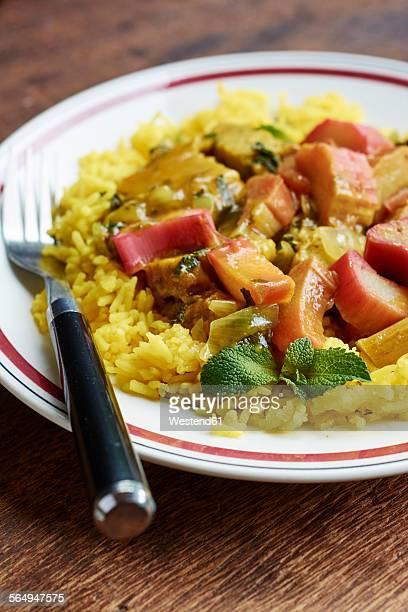 Persian stew with rhubarb-seitan, served on basmati rice