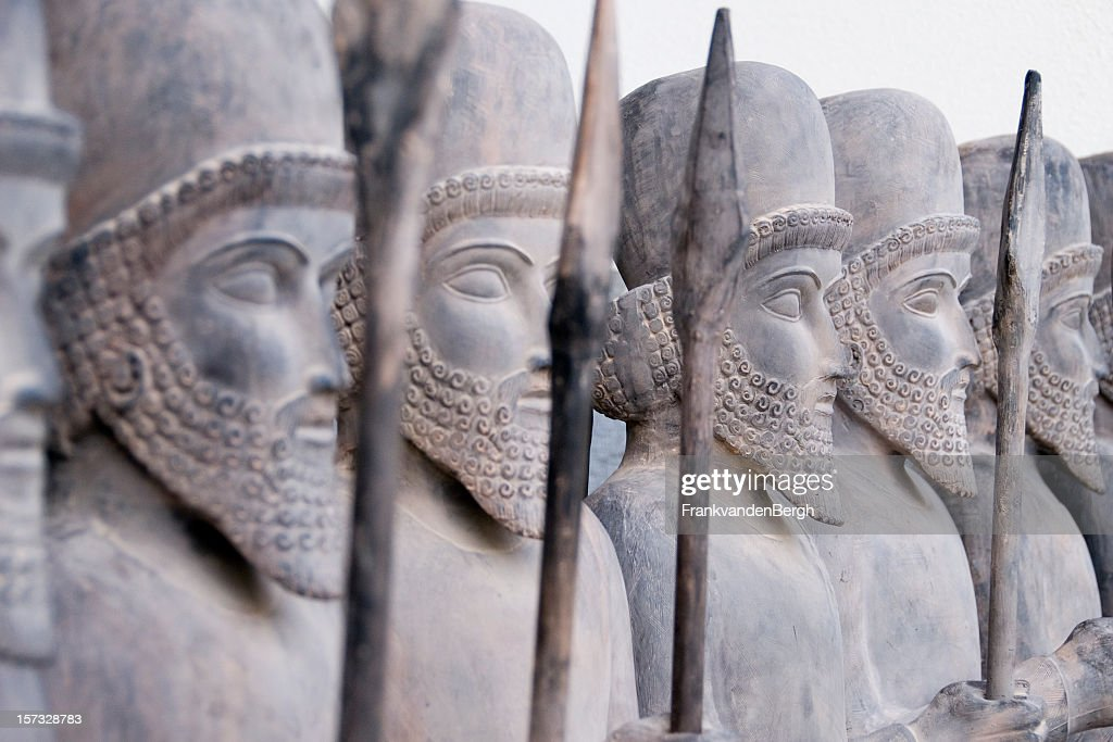 Persian warriors in line : Stock Photo