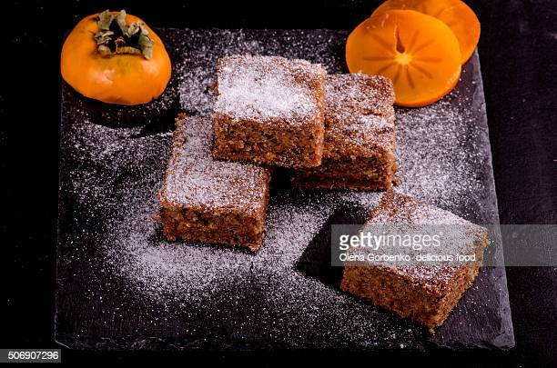 Persimmon cake with sugar powder