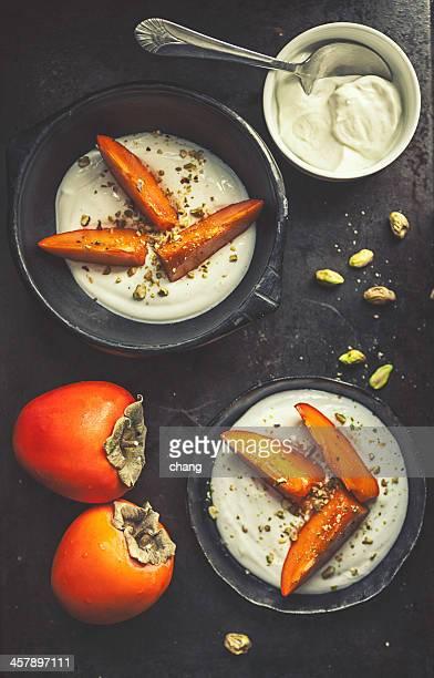 Persimmons greek yogurt