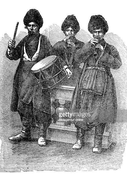 Persische Musikanten in Kontantinopel, heute Istanbul, Türkei / Persian musicians in Constantinople, now Istanbul, Turkey, Digitale Reproduktion von...