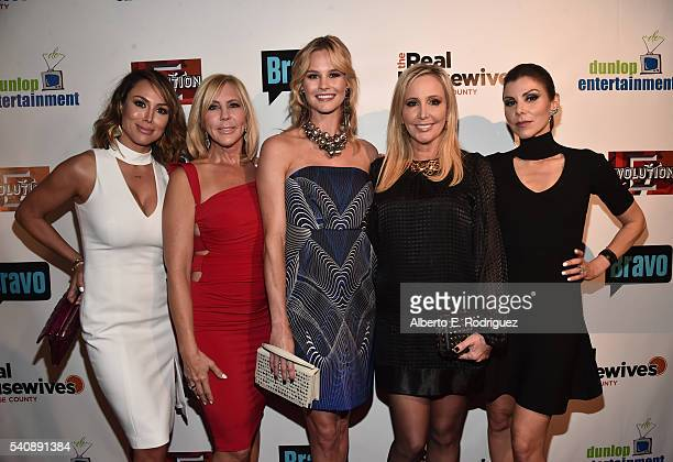 TV persoanlities Kelly Dodd Vicki Gunvalson Meghan King Edmonds Shannon Beador and Heather Dubrow attend the premiere party for Bravo's The Real...